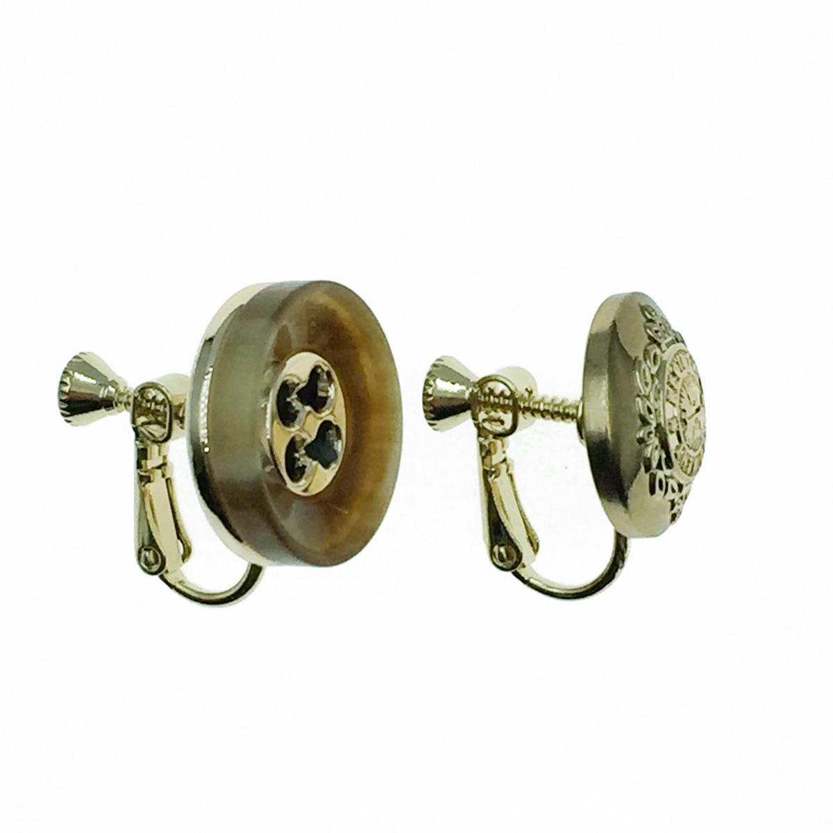 韓國 不對稱 復古風 鈕扣造型 夾式耳環