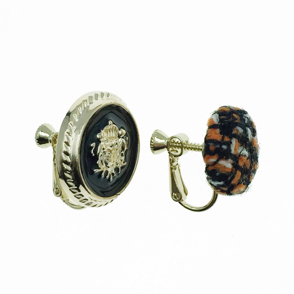 韓國 編織 圓形 圖騰 不對稱 夾式耳環