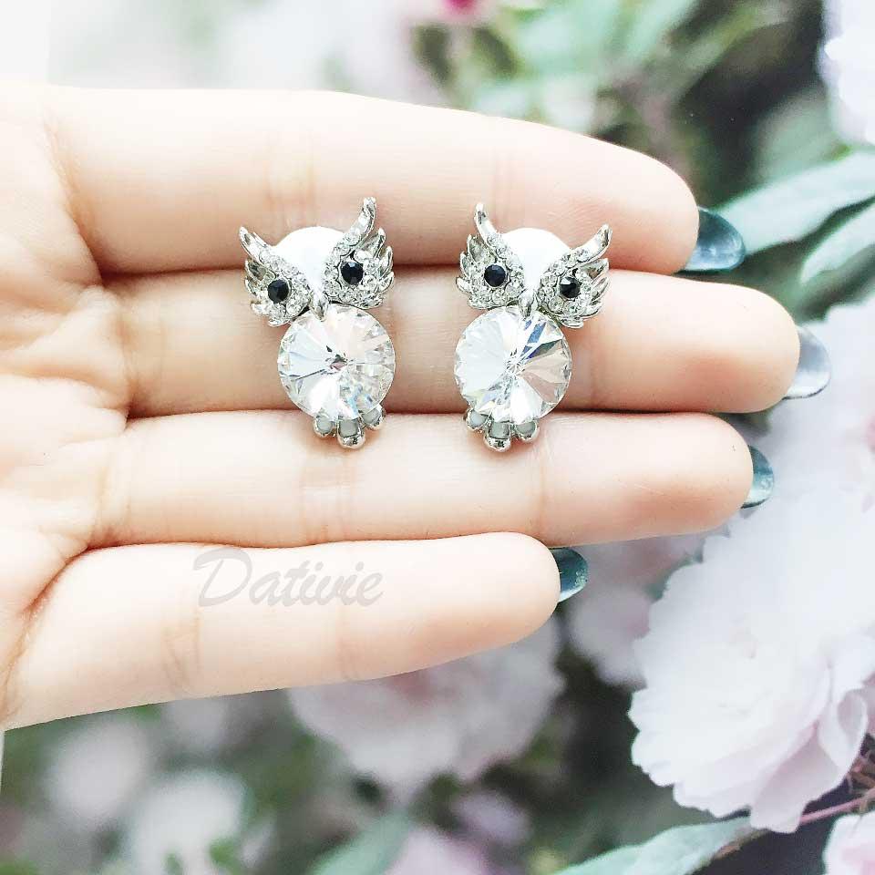 貓頭鷹 水鑽 耳針式耳環