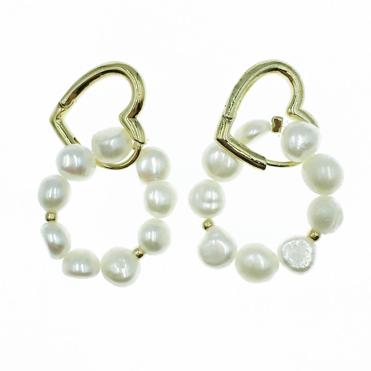 韓國 簍空愛心 珍珠圈圈 垂墜感 耳針式耳環