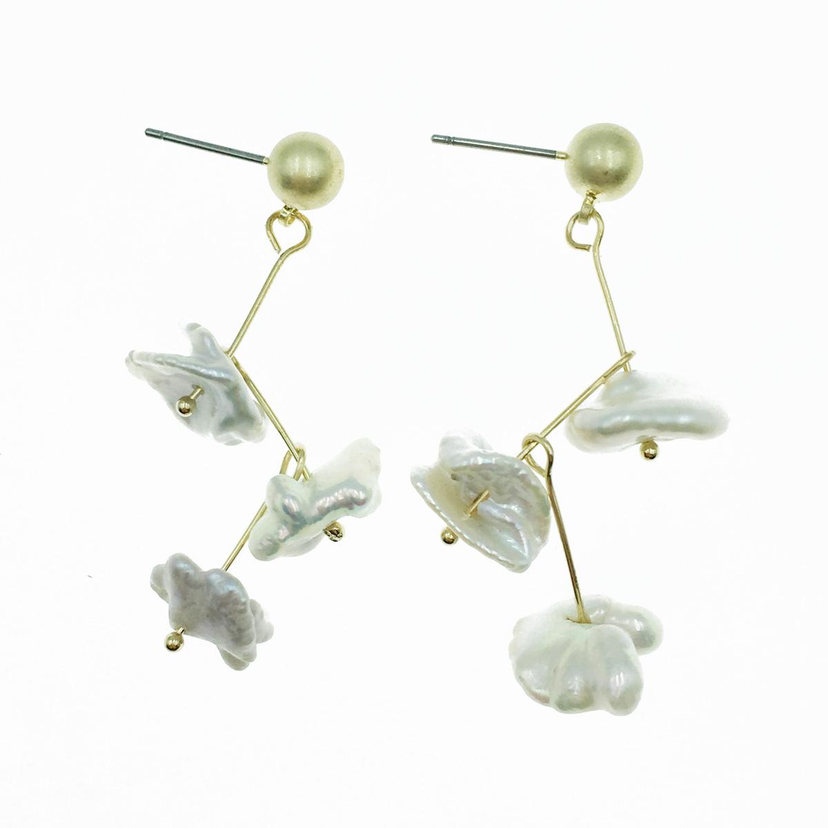 韓國 不規則 天然珠 垂墜感 耳針式耳環