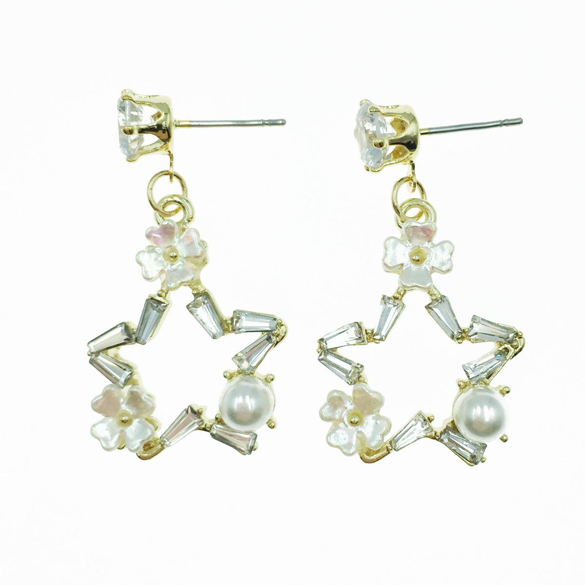 韓國 簍空星星 水鑽 珍珠 垂墜感 耳針式耳環