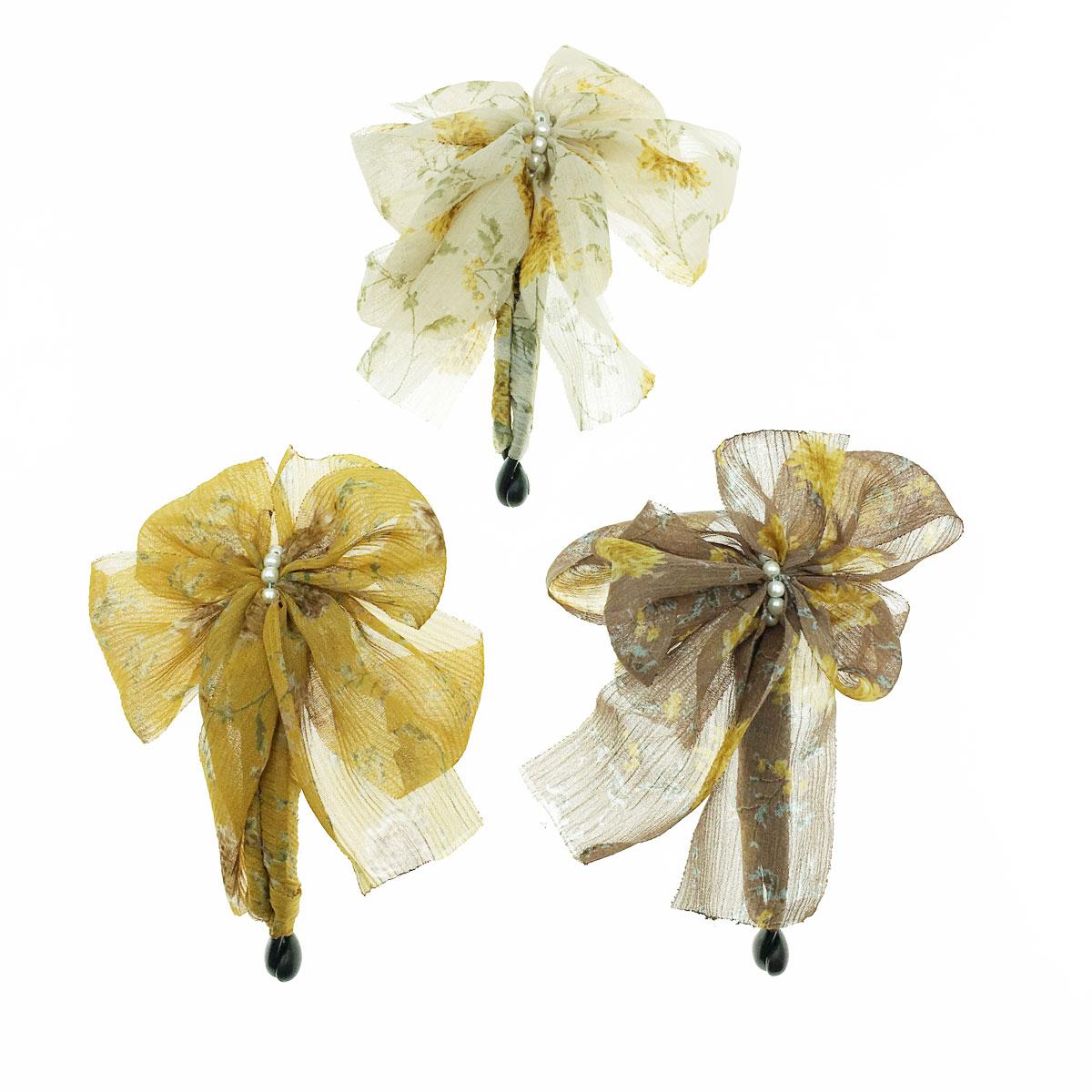 韓國 花朵 正面 珍珠 三色 相交夾 髮夾 髮飾