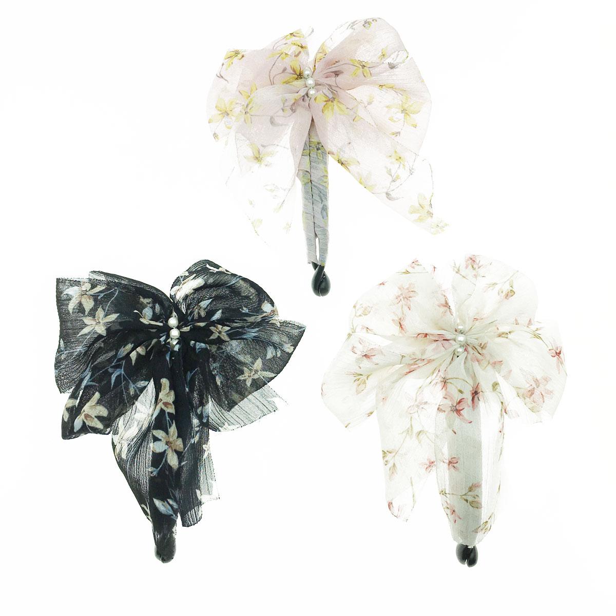 韓國 珍珠 花朵 正面 三色 相交夾 髮夾
