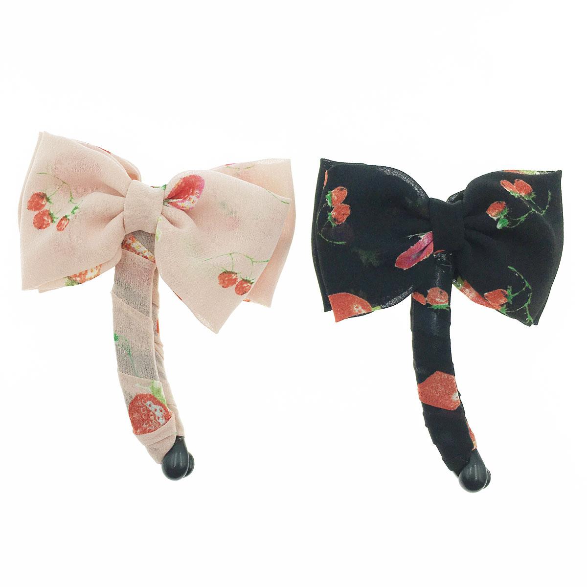 韓國 草莓 蝴蝶結 側邊 兩色 相交夾 髮夾 髮飾