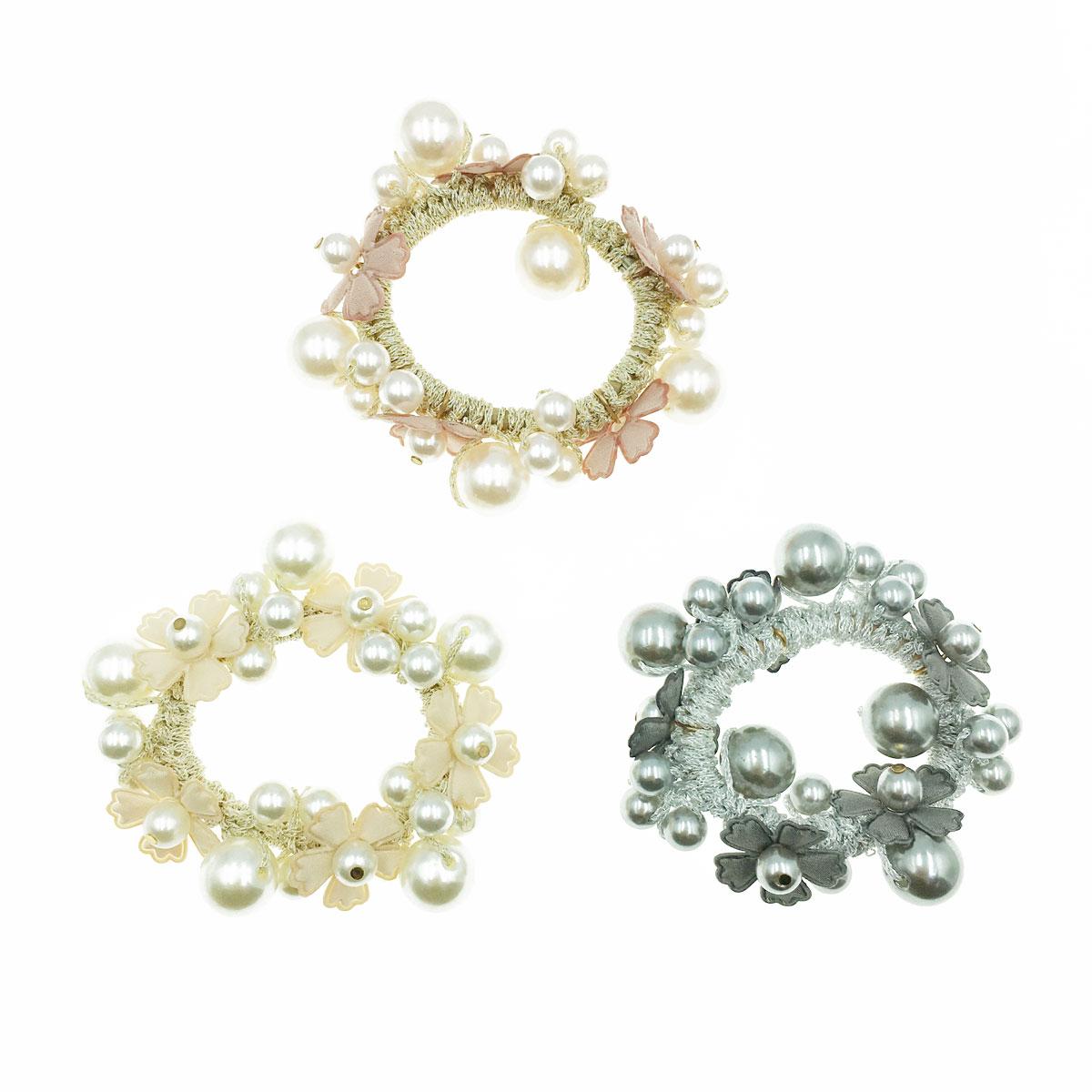 韓國 珍珠 花朵 同色二入一組 三色 髮圈 髮束 髮飾