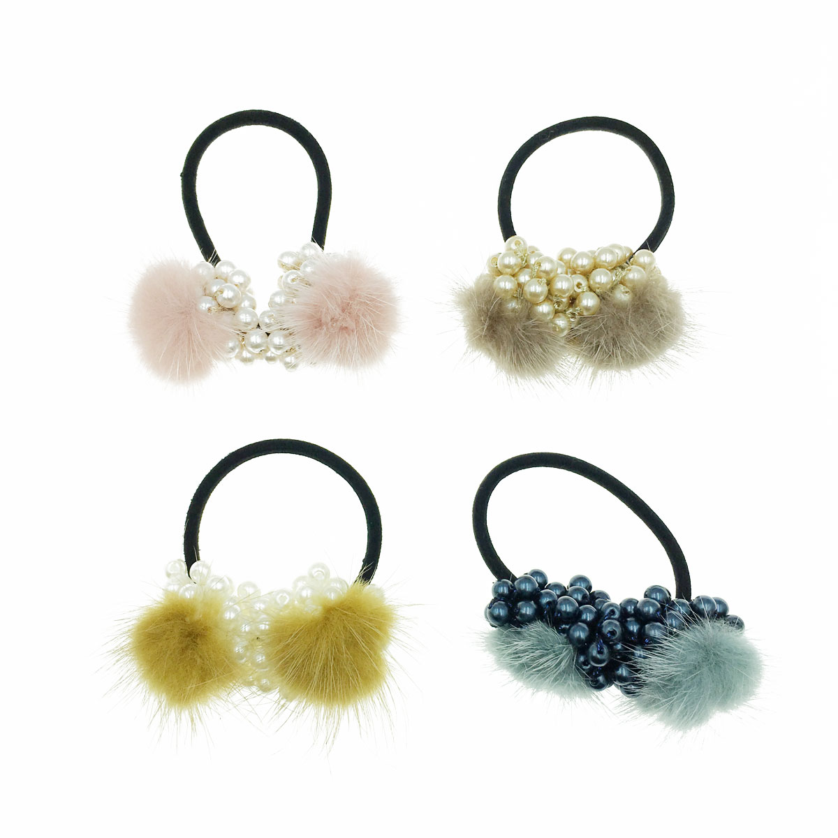 韓國 珍珠 毛毛 同色二入一組 四色 髮圈 髮束 髮飾