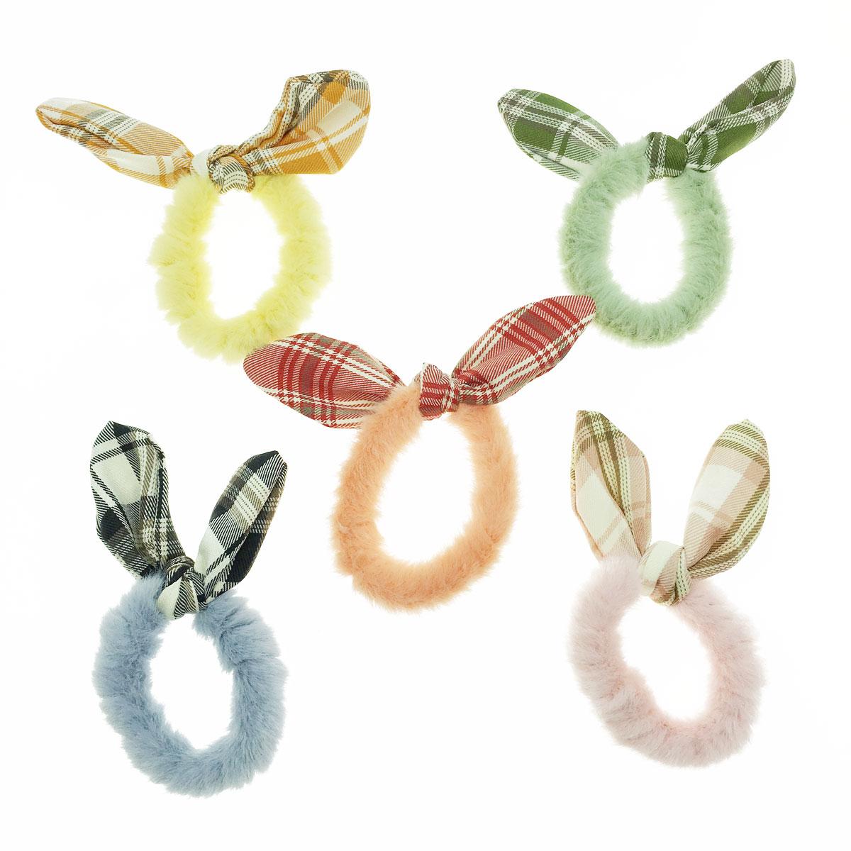 韓國 格子 蝴蝶結 毛毛 顏色隨機 五入一組 髮圈 髮束 髮飾