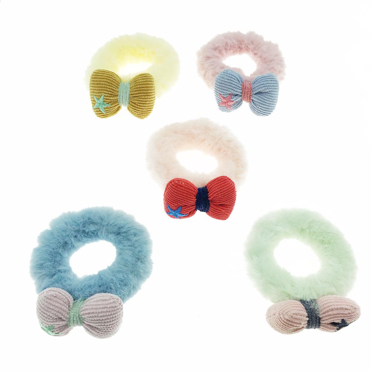 韓國 蝴蝶結 星星 毛毛 繽紛 五入一組 髮圈 髮束 髮飾