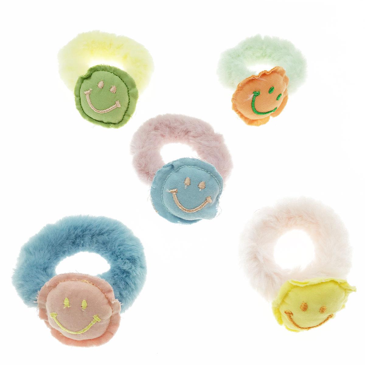韓國 微笑 裁縫 毛毛 五入一組 髮圈 髮束 髮飾