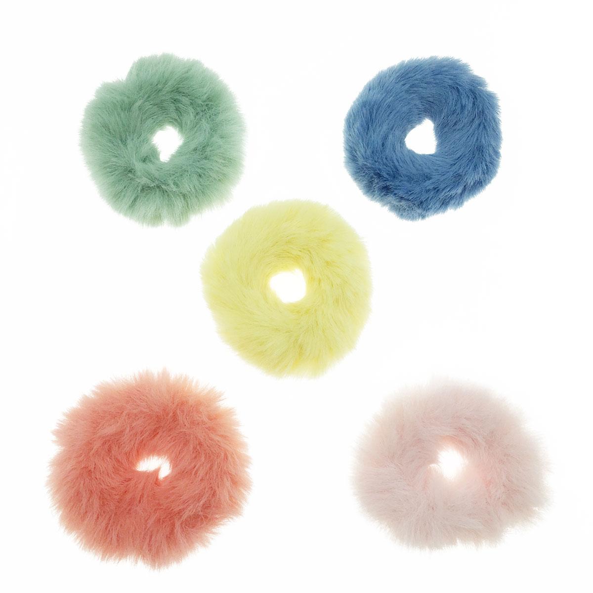 韓國 簡約 毛毛 單色 五入一組 髮圈 髮束 髮飾