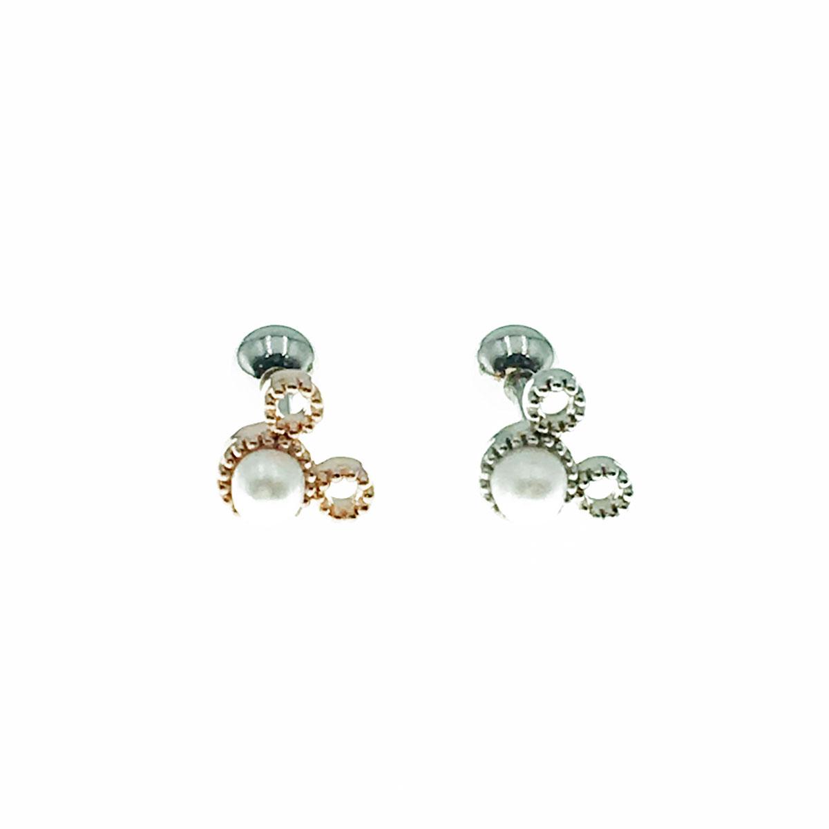韓國 迪士尼 珍珠 簡約 米奇頭 單顆 兩色 耳針式 耳環