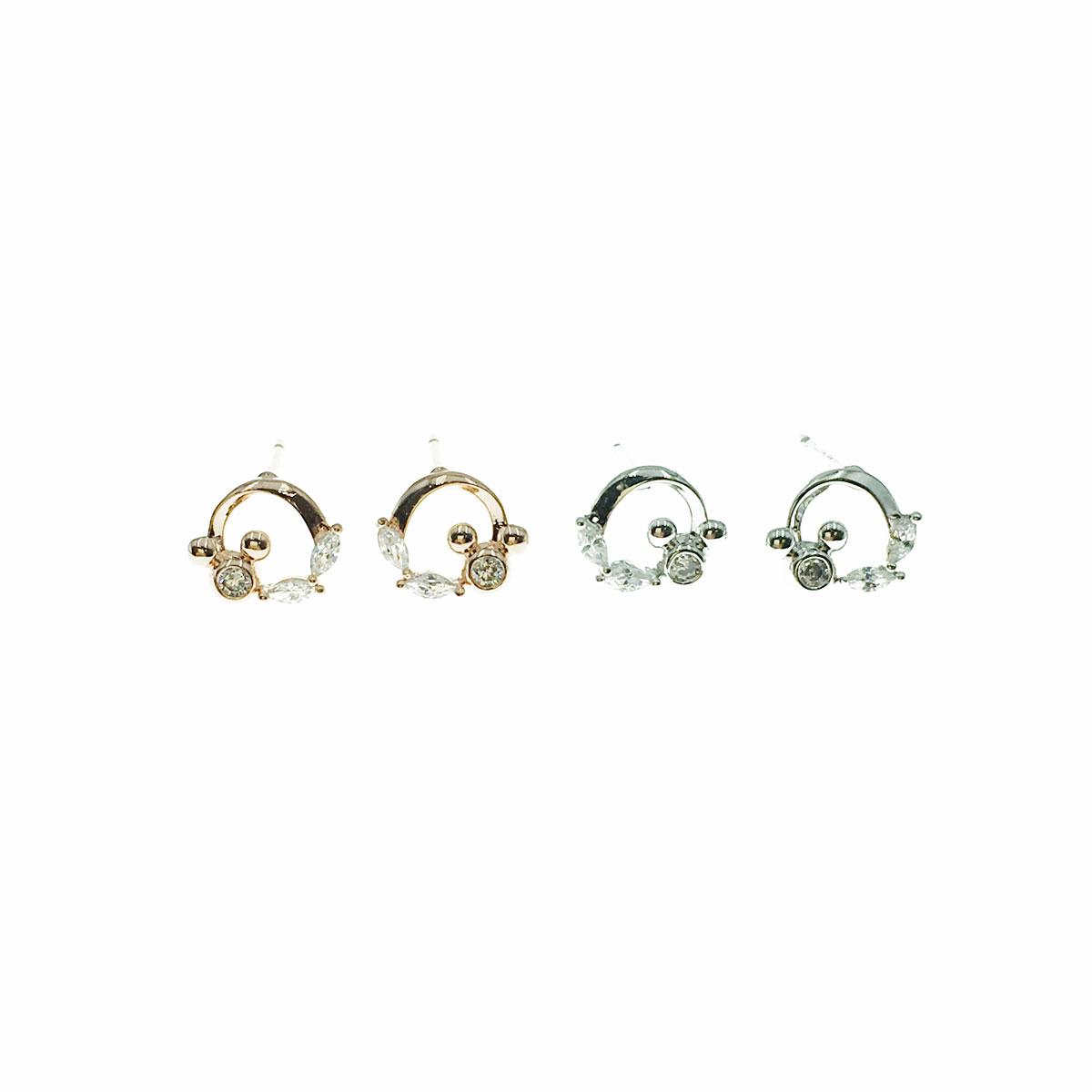 韓國 925純銀 迪士尼 水鑽 葉子 兩色 耳針式 耳環