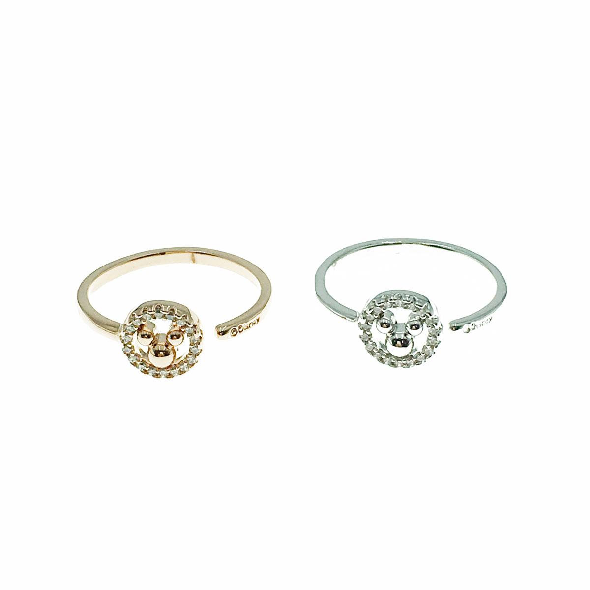 韓國 迪士尼 水鑽 簍空 米奇頭 兩色 戒指 飾品