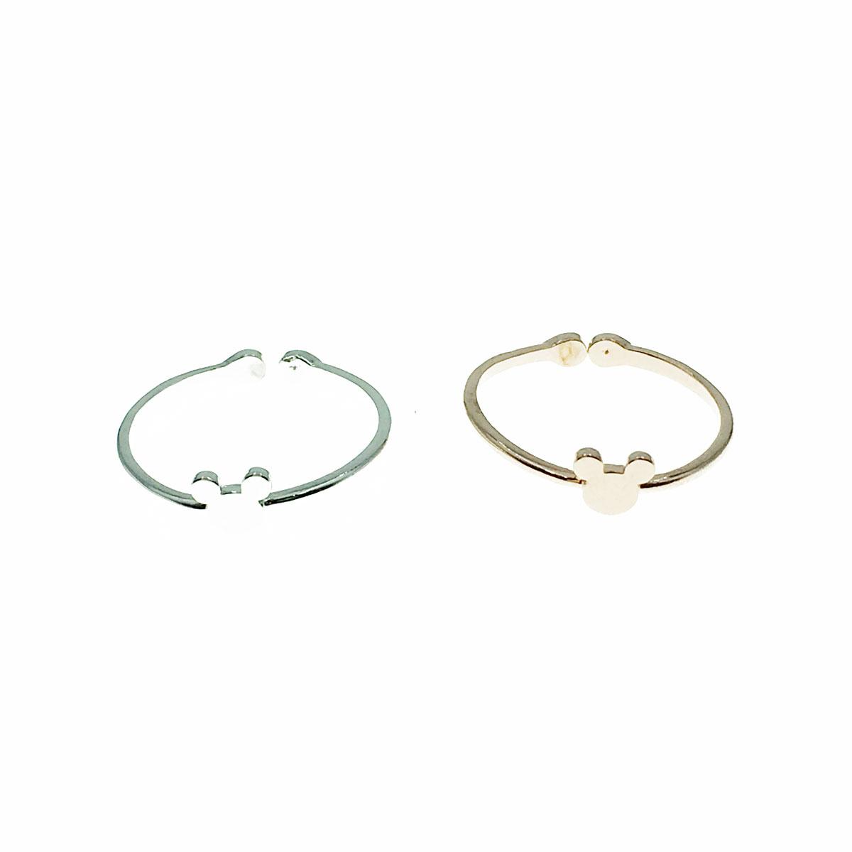 韓國 迪士尼 米奇頭 簡約 可調式 兩色 戒指 飾品
