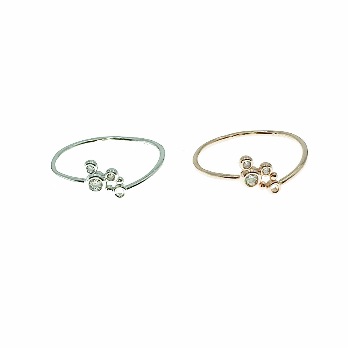 韓國 迪士尼 水鑽 大小米奇 兩色 可調式 戒指 飾品