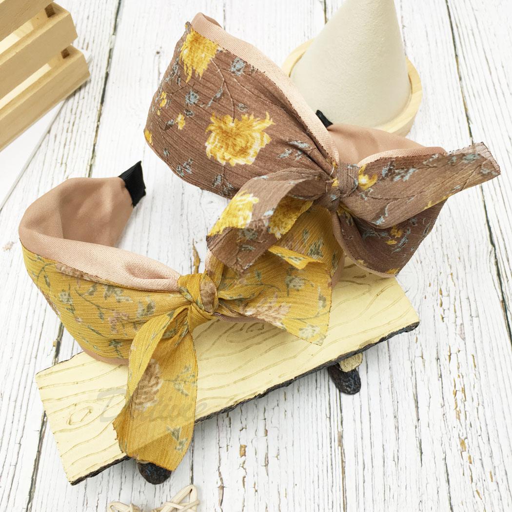 韓國 花朵 葉子 蝴蝶結 兩色 髮箍 髮飾