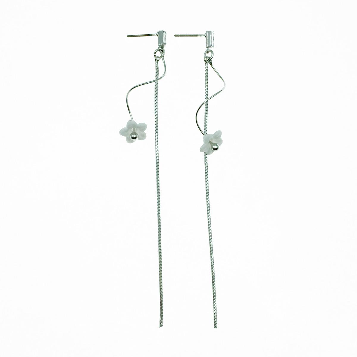 韓國 小白花 水鑽 垂墜感 耳針式耳環