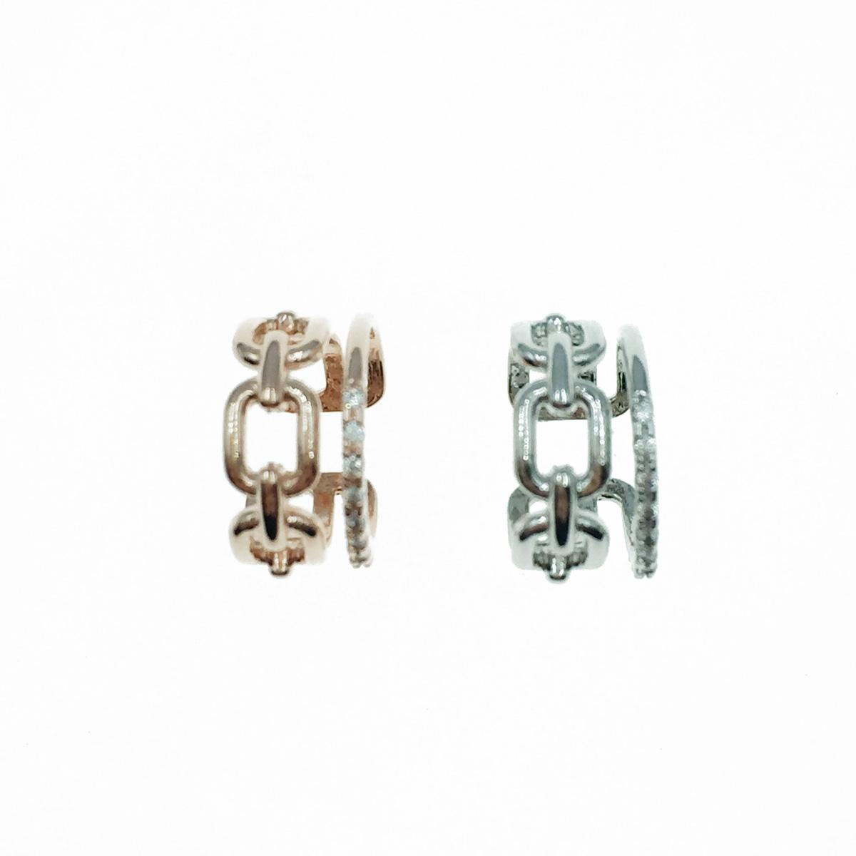 韓國 簍空金屬 水鑽 銀 玫瑰金 耳骨夾