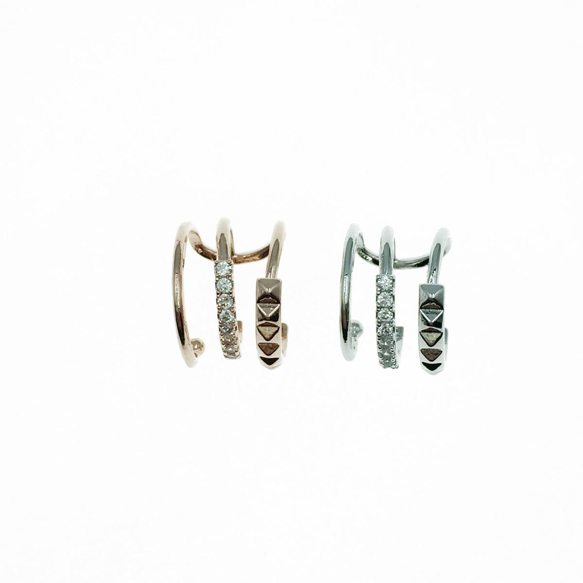 韓國 水鑽 三環圈 銀 玫瑰金 耳骨夾