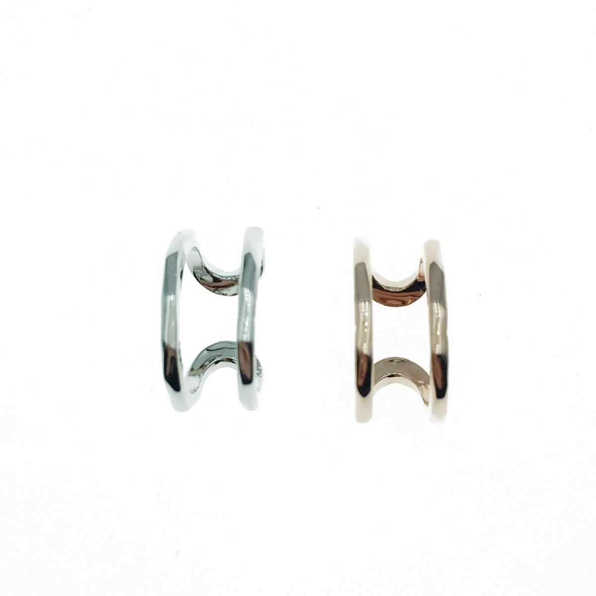 韓國 簍空金屬 雙環圈 簡約風 2色 耳骨夾