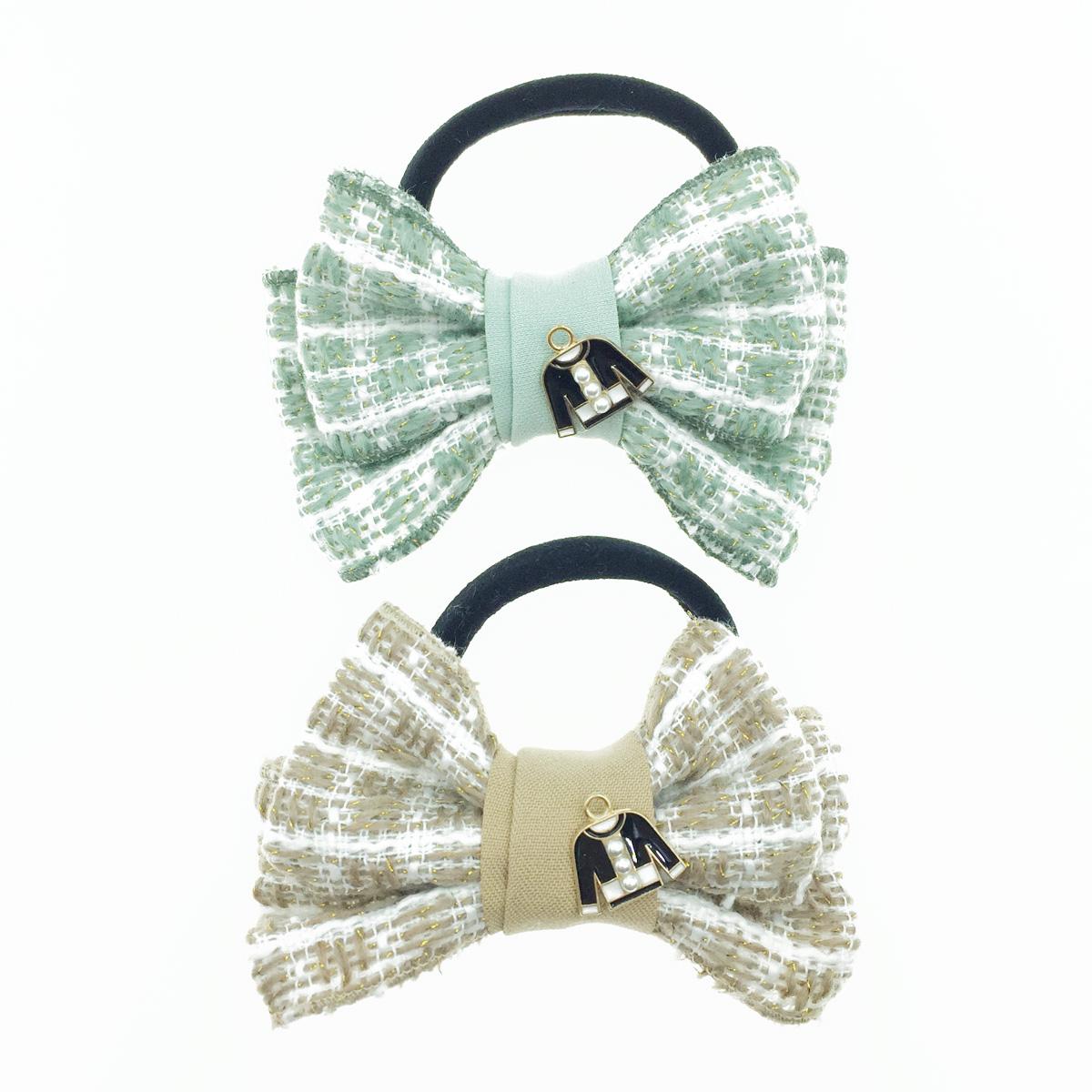 韓國 小香風 黑外套 珍珠 編織雙層蝴蝶結 髮飾 髮束