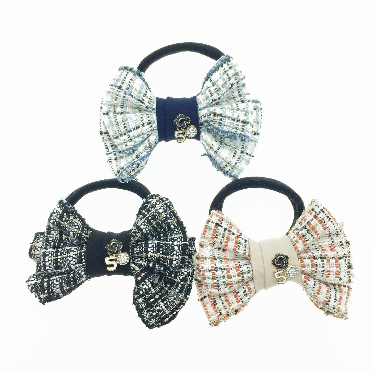 韓國 小香風 數字5 蝴蝶結 水鑽 花 髮飾 髮束