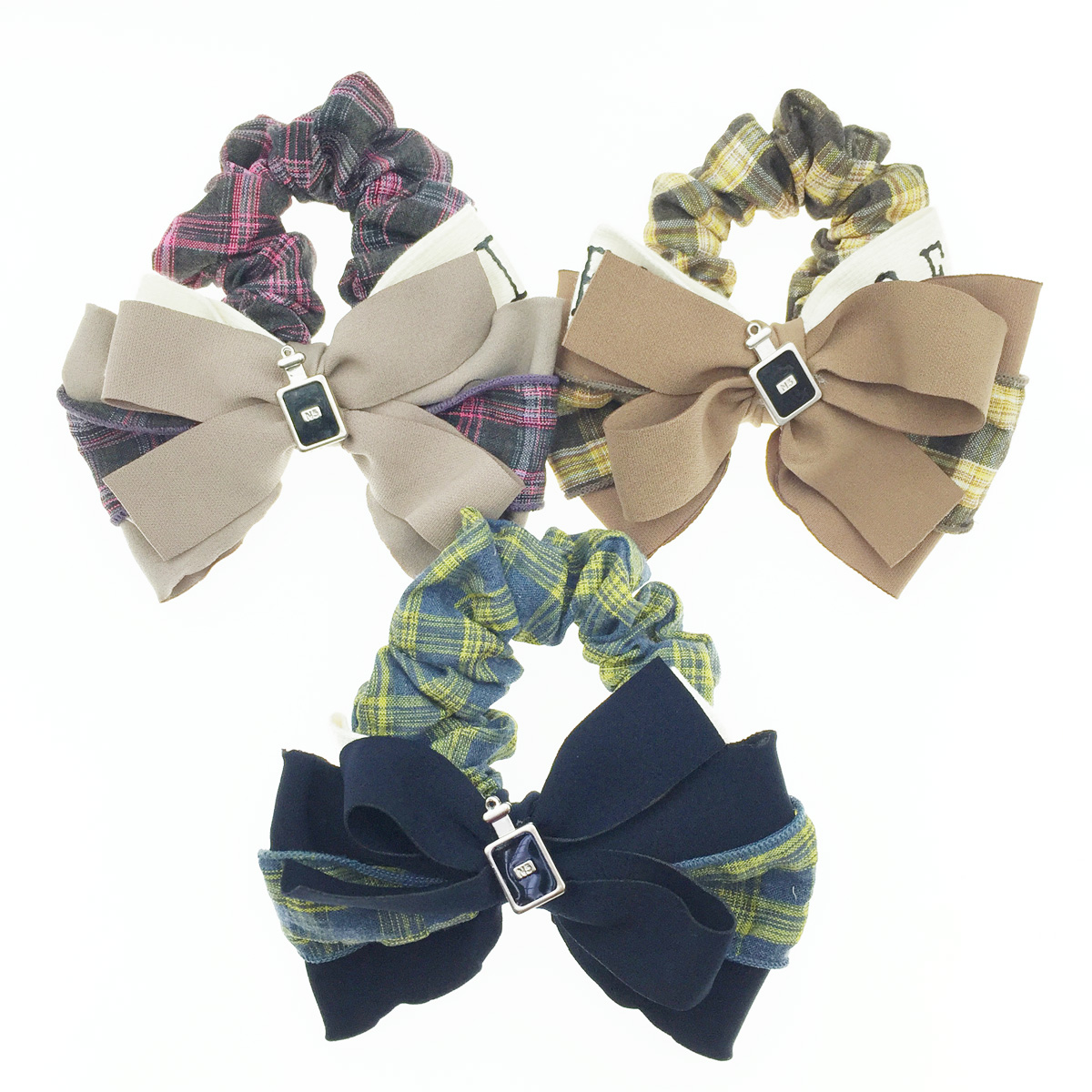 韓國 多層蝴蝶結 香水瓶 格紋 髮飾 大腸圈