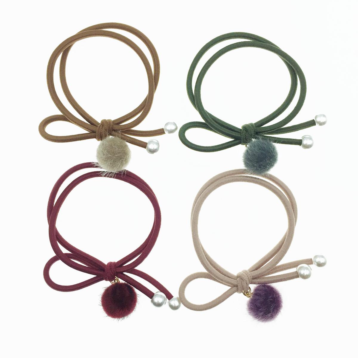 韓國 毛球 珍珠 4色 髮飾 髮束