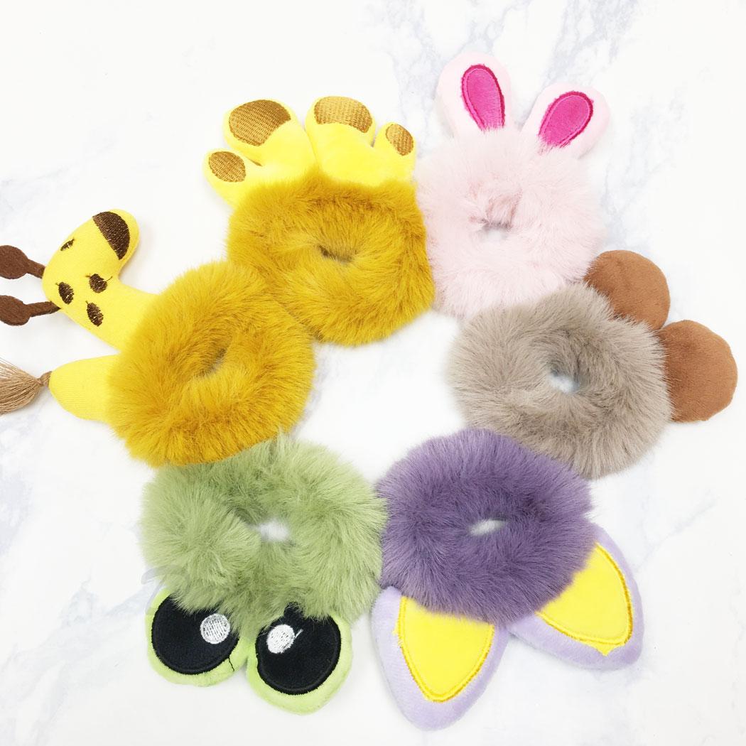 毛毛 兔子 長頸鹿 青蛙 熊 貓咪 五款 髮束 髮飾