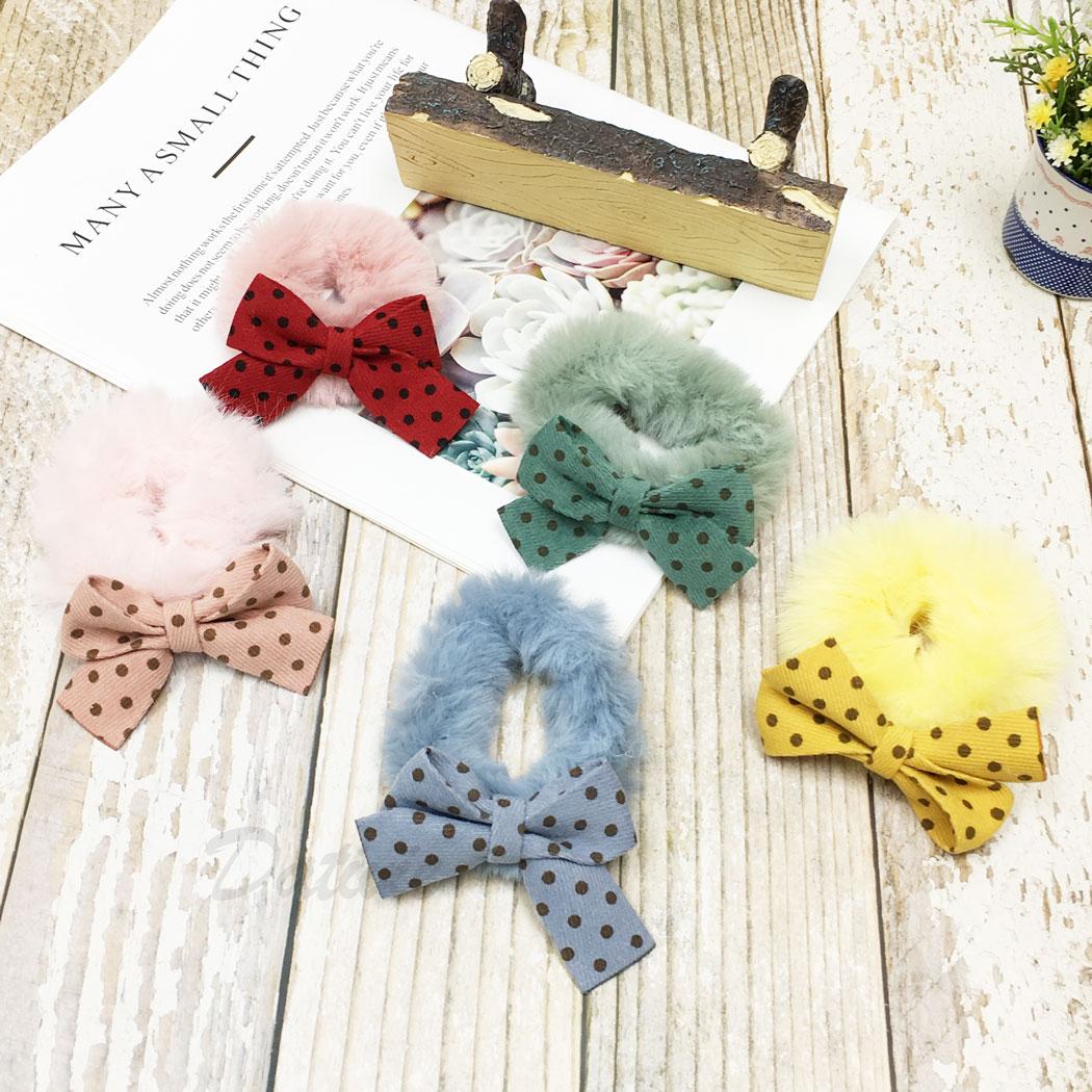 韓國 毛毛 蝴蝶結 點點 五色一組 髮束 髮飾