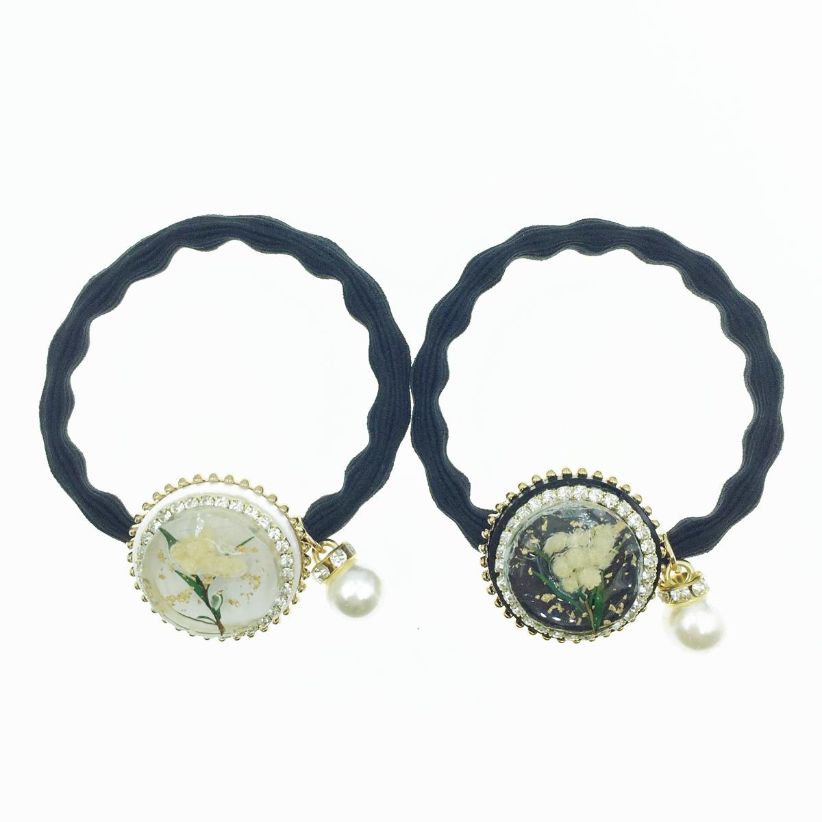 韓國 水鑽 花 珍珠 2色 髮飾 髮束
