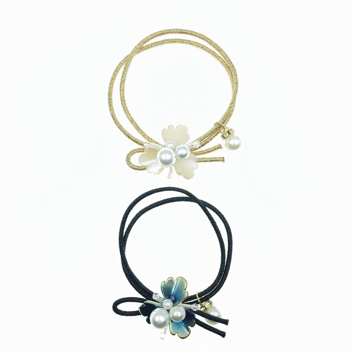韓國 花造型 珍珠 髮飾 髮束