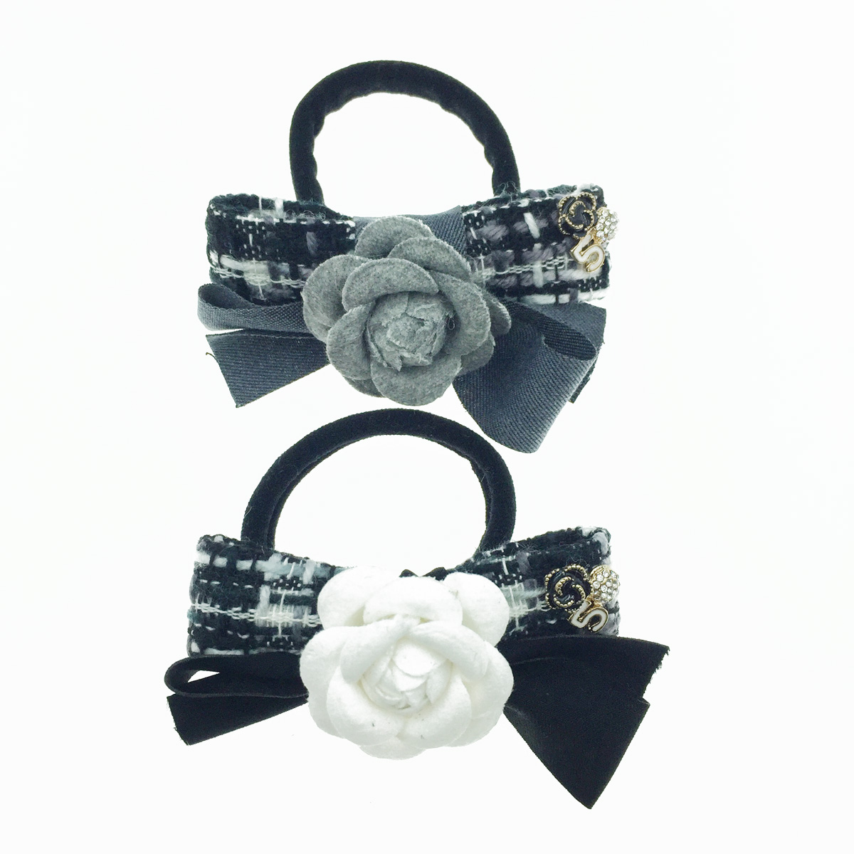 韓國 小香風 花 水鑽 編織 蝴蝶結 髮飾 髮束
