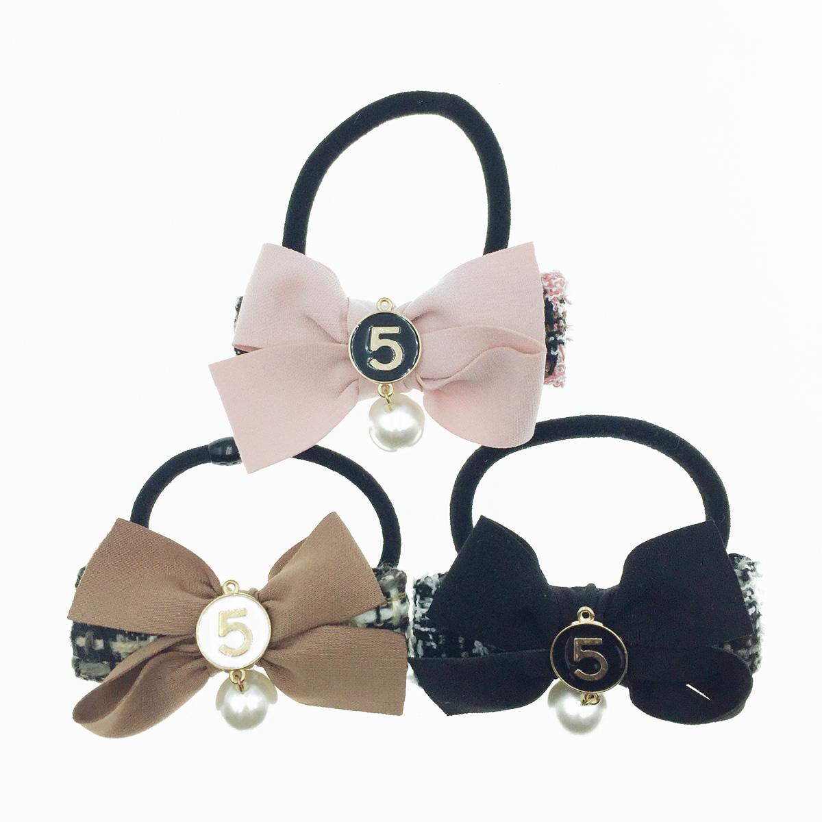 韓國 小香風 蝴蝶結 數字5 珍珠 髮飾 髮束