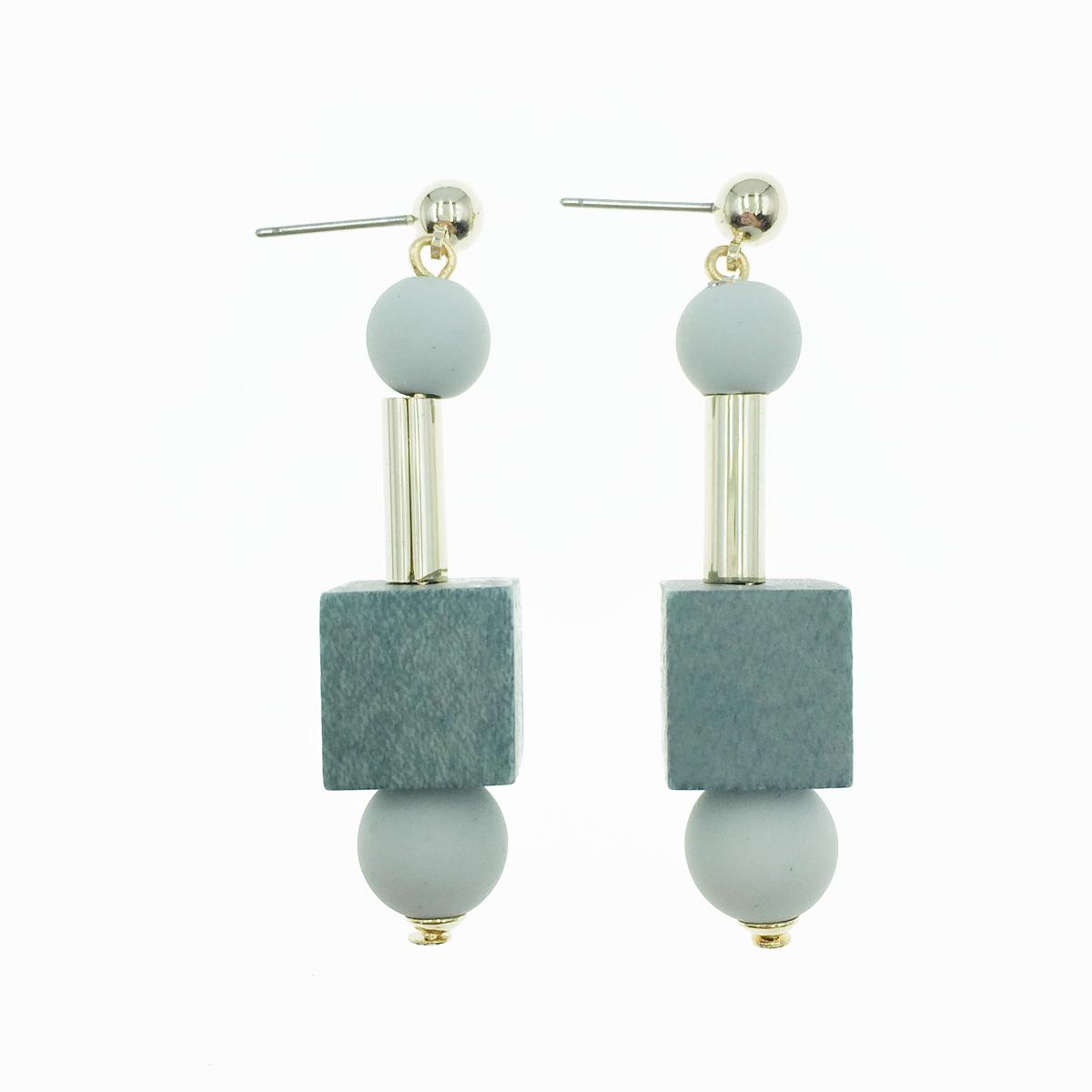 韓國 立體方塊 莫蘭迪色 垂墜感 耳針式耳環