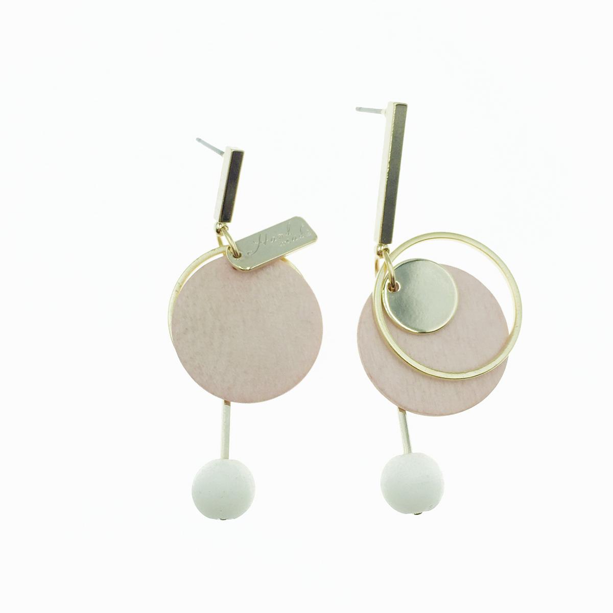 韓國 不對稱 圓形 粉 垂墜感 耳針式耳環
