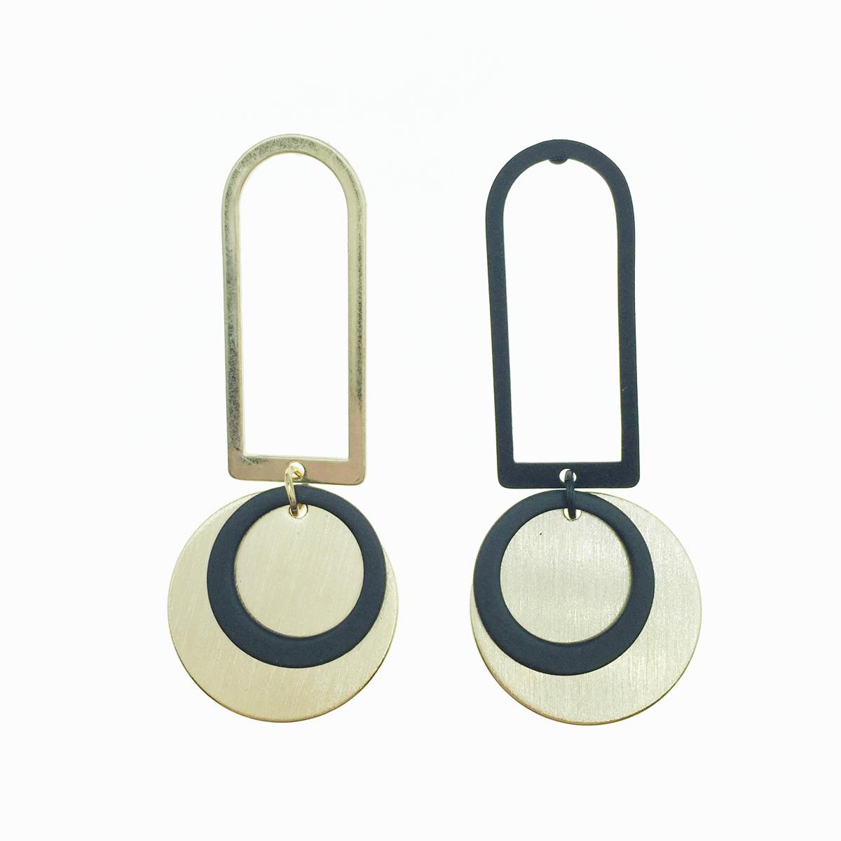 韓國 簍空 圓形 金黑 垂墜感 耳針式耳環
