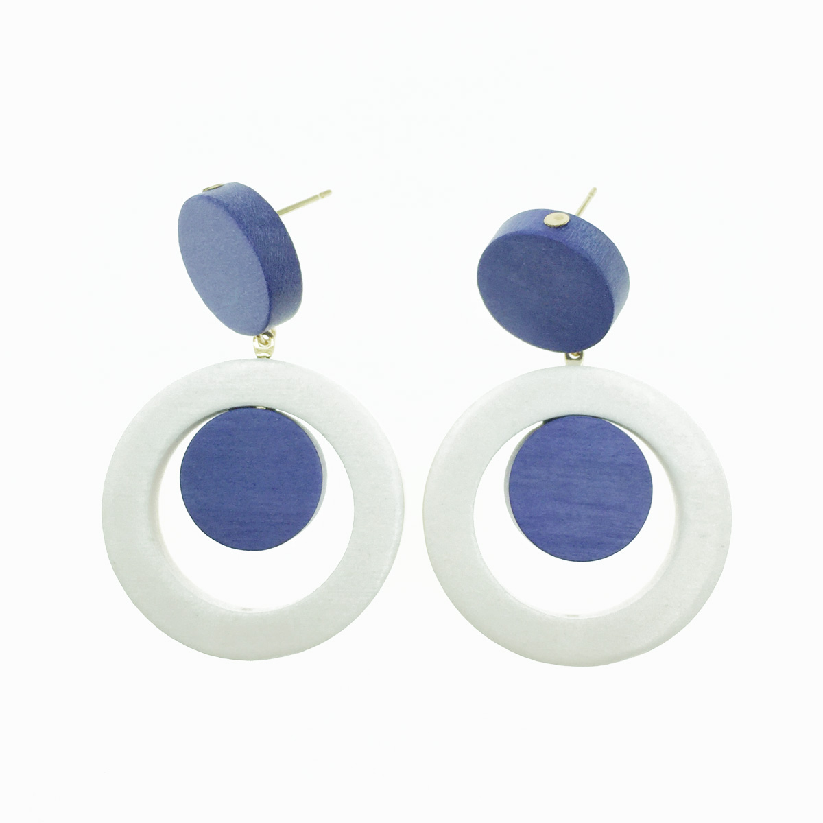 韓國 簍空圓 白 藍紫 木頭感 垂墜感 耳針式耳環
