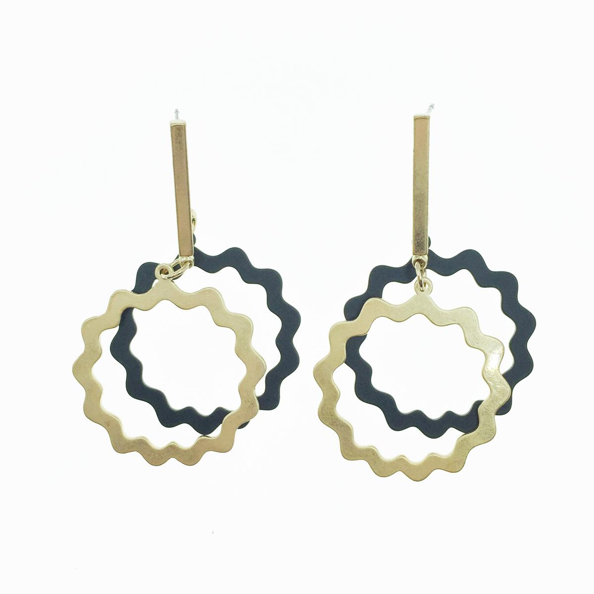 韓國 簍空金屬 黑金色 垂墜感 耳針式耳環