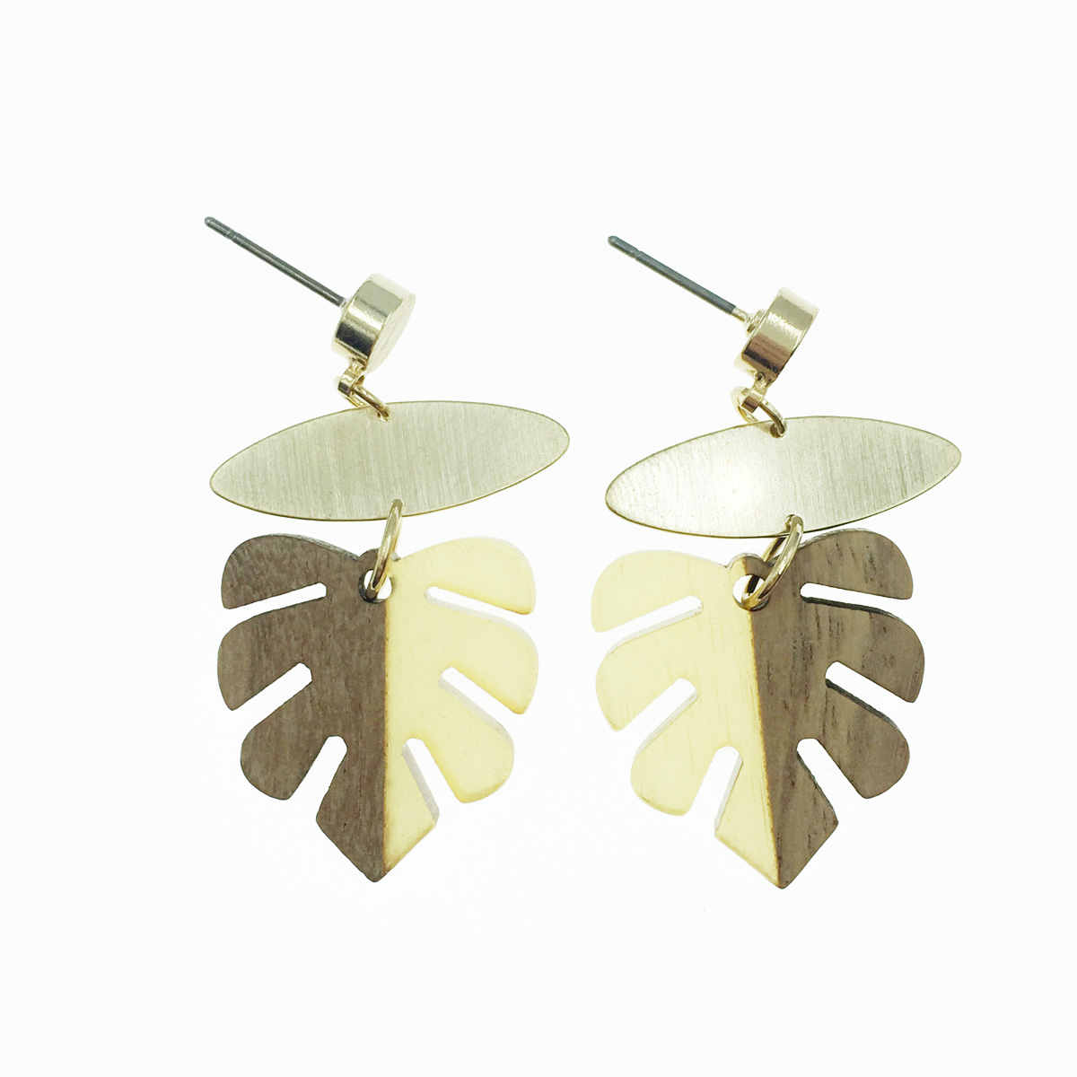 韓國 葉子 垂墜感 耳針式耳環