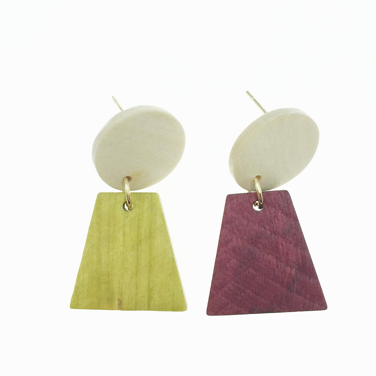 韓國 圓形 梯形 木頭感 垂墜感 耳針式耳環