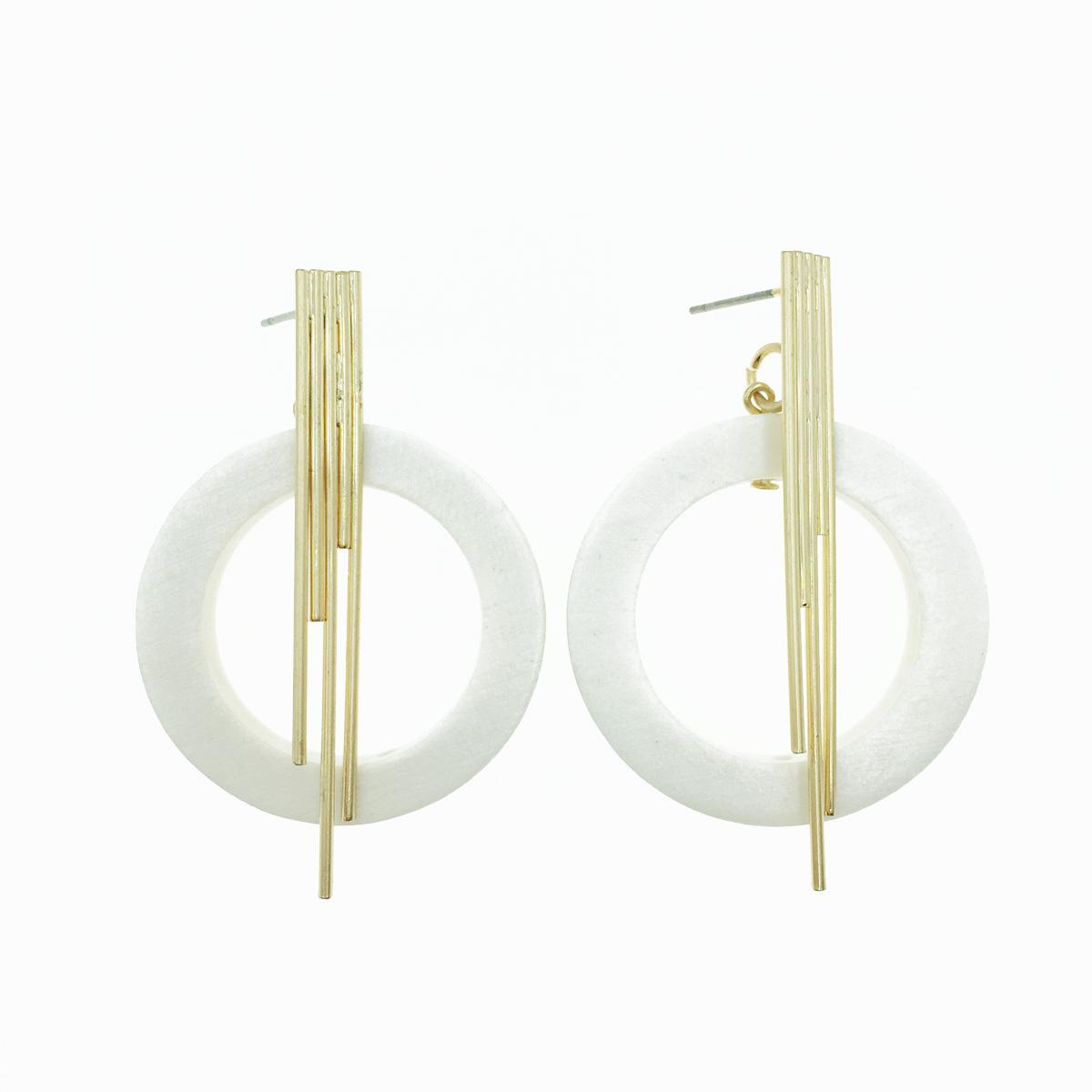 韓國 簍空圓 白 垂墜感 耳針式耳環