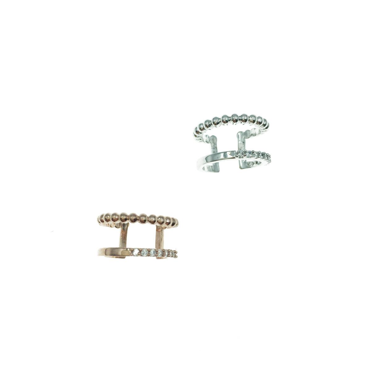 韓國 簡約珠珠 水鑽 玫瑰金 銀色 耳骨夾