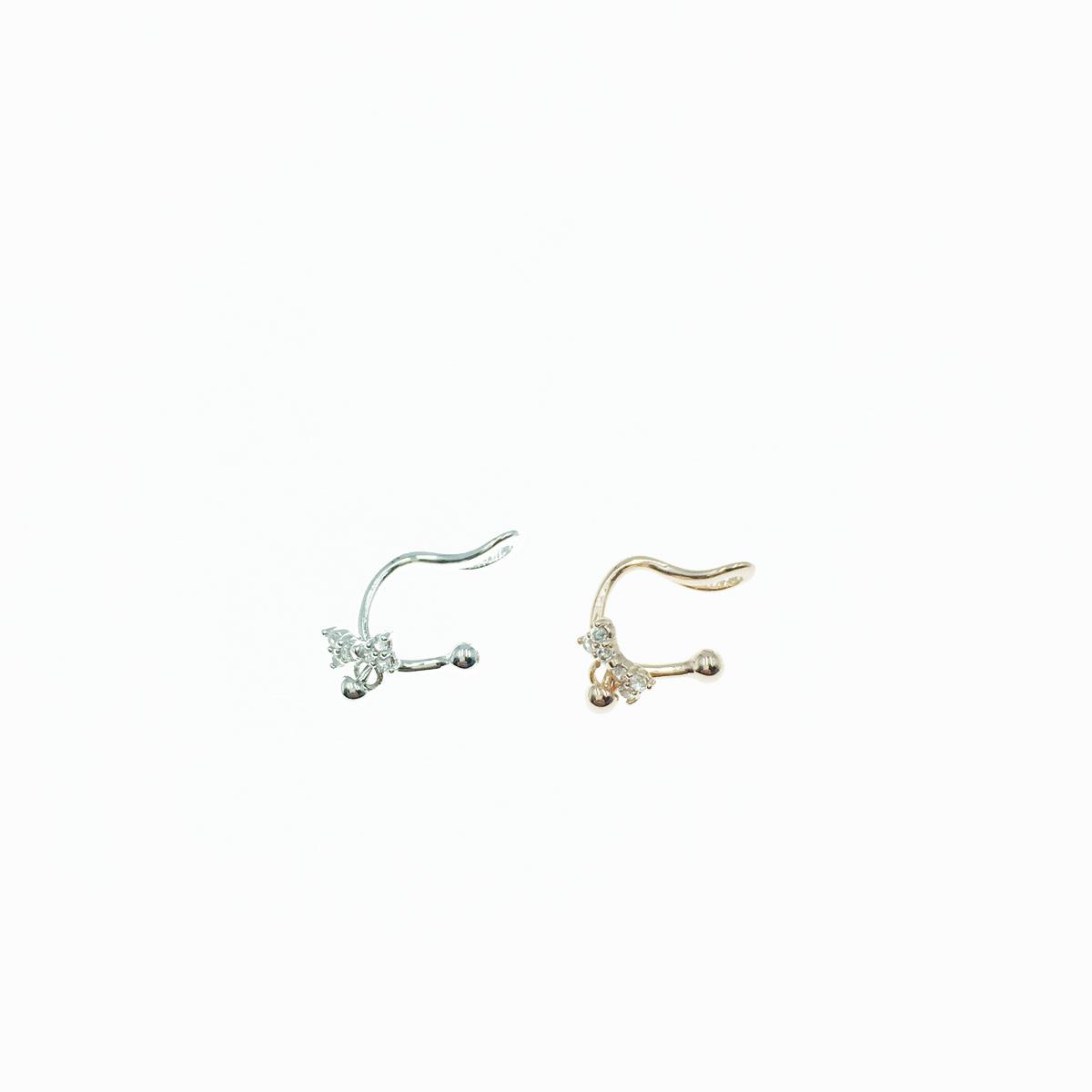 韓國 小蝴蝶結 水鑽吊飾 玫瑰金 銀色 耳骨夾
