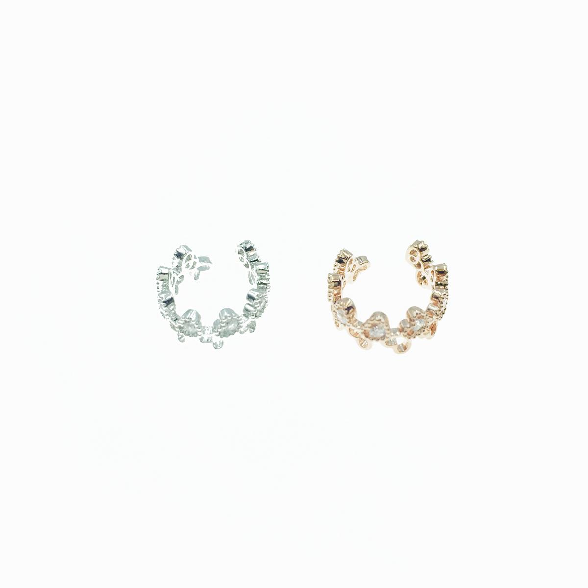 韓國 交錯愛心 水鑽 玫瑰金 銀色 耳骨夾