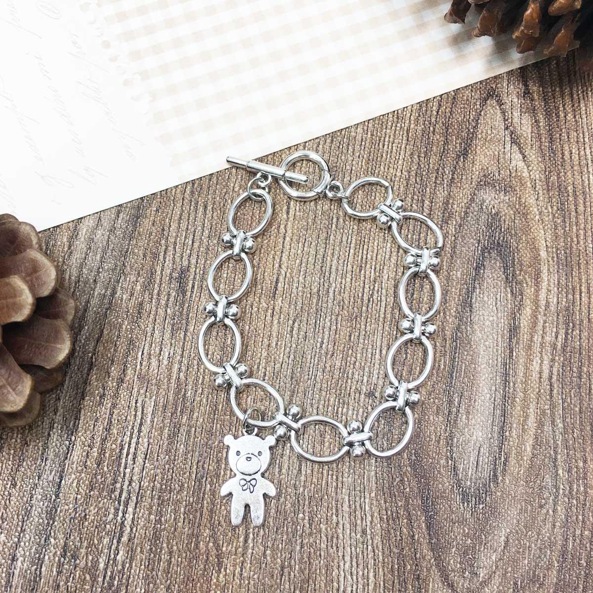 熊熊吊飾 扣環 圈圈 銀色 手環 抗敏電鍍手鍊
