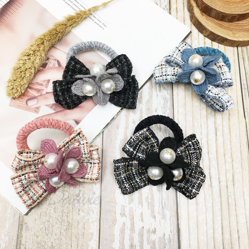 韓國 蝴蝶結 小香風 珍珠 花朵 四色 髮束 髮圈