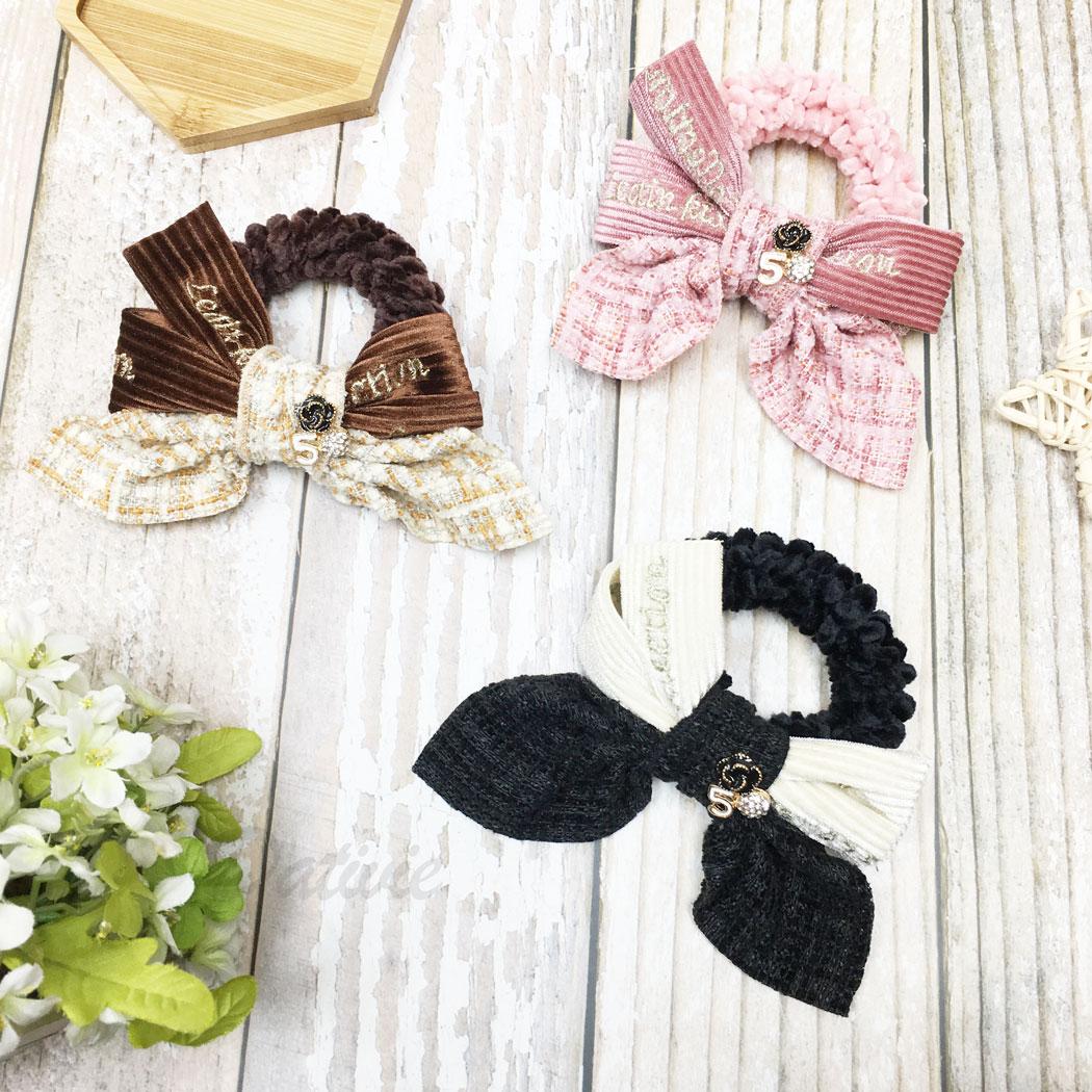 韓國 小香風 水鑽 花5 英文 蝴蝶結 三色 髮束 髮圈