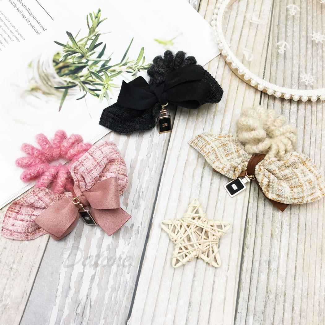 韓國 小香風 香水瓶 蝴蝶結 三色 電話線 髮圈